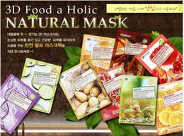 Wholesale Natural Korean Face - Natural Beauty Essence Face Mask Whitening Moisturizing Skin Care Treatment Korean Cosmetics FOOD A HOLIC 3D Facial Mask Sheet Makeup DHL