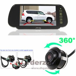 360 ° Rotateable Car Front Side Rear View Estacionamento Câmera Reversa HD + 7 polegadas LCD Monitor Espelho Kit de