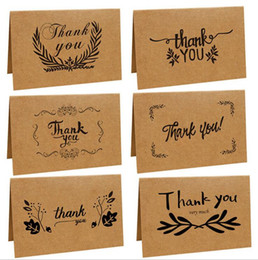 Wholesale Wedding Thanks Cards - Vintage Brown Paper Kraft Paper Thank You Card Greeting Cards Wedding Party Festive Event Supplies 6 Styles OOA2748