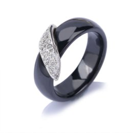 Wholesale Natural Diamond Ring White Gold - A&N Polished Ceramic Ring Women Silver Gold &CZ Diamond Embedded White Black Rhinestone Women Rings With Natural Stone