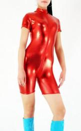 Wholesale Dance Wear Catsuit - Women Red Sexy Shiny Spandex Catsuits Teddy Jumpsuit Dance Wear Bodysuit Classic Halloween Costumes S M L XL XXL