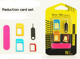 Wholesale Kit 5in1 - Sim Card Adapter 5in1 Metal Nano SIM Card to Micro Standard Card Adapter Converter Kits with Sim Card Folder Needle For mobile phone