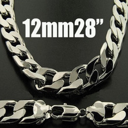 Wholesale King Chain 925 - Hot Sale 5pcs Fashion Chains 925 Silver Necklace 12mm 28inch Men's Curb Chains Necklace 28inch 71cm King-Size