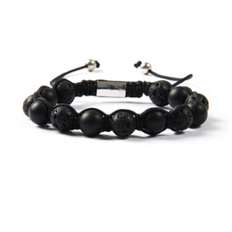 Brand Jewelry Wholesale 10pcs lot High Quality 10mm Lava Rock Stone With Natural Matte Stone Beads Macrame Bracelet For Men's Gift Coupons