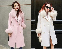Wholesale Fur Collar Trench - New Autumn Winter Style Women Fashion Woolen Coats Ladies's Elegant Fur Collar Long Trench Coats Girls Double-breasted Warm Wool Overcoat