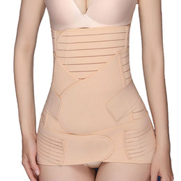 Wholesale Belly Band Shapewear - 3PC Postpartum Recovery Belt Abdomen+Stomach+Elastic pelvic Waist Cinchers Body Shaper Slimming Waist Belly Band Shapewear