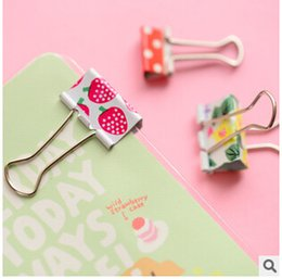 Wholesale Binder Pack - Wholesale-6 pcs  pack Fresh Style Flower Printed Metal Binder Clips Notes Letter Paper Clip Office Supplies FOD