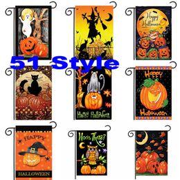 Zucca da giardino online-30 * 45 cm Halloween Garden Flags Zucca Fantasma Party Home Decor Outdoor Hanging poliestere Bandiere del giardino Decorazioni di Halloween WX9-03