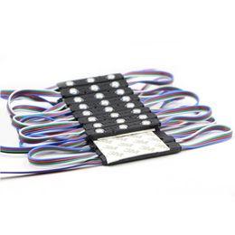 Wholesale 12v Rgb Led Module - Eyoumy 5050 3LED RGB Round Black Shell Injection LED IP67 Waterproof Led Module Advertising DC12V 1.5W With Lens 110-130LM