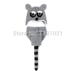 Wholesale Knit Hats Diaper Covers - Crochet Baby Fox Hat with Ear Flaps Tail Diaper Cover Knitted infant Photography Props Newborn Animal Outfit body props SY28