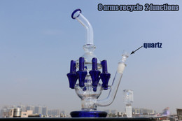 """Wholesale Two Perc Bubbler Glass - Only clear Recycler glass bong with 8 arms perc oil rig 12"""" tall bubbler two functions glass pipe with 14mm quartz nail"""