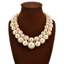 Wholesale Plastic Rose Beads - Fashion Necklace for Women 2016 Vintage Collar Gold Chain Big Double Bead Crystal Choker Necklaces & Pendants Bijoux