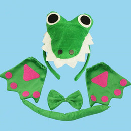 Wholesale Adult Bow Tie - 3D Crocodile Dinosaur Headband Bow Tie Tail Cosplay Animal 3pcs Set Kids Adults Halloween Performance Props Party Favors