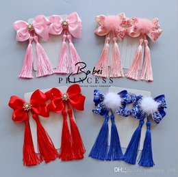 Wholesale Porcelain Child - New year Retro style baby girl blue and white porcelain tassels baby headdress Children Headwear Kids Hairpin Girls Baby Hair Accessory