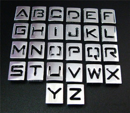 Wholesale Hollow 8mm Slide Letter - 130pcs 8mm A-Z sliver Hollow Out Brand New slide letters fit wristbands necklace Cord