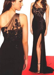 Wholesale Dress Prom One Shouder - 2016 New Sexy Black Sheath Prom Dresses Long Sheer One Shouder Lace Appliqued Special Occasion Split Evening Dresses Arabic Vestidos BA2565