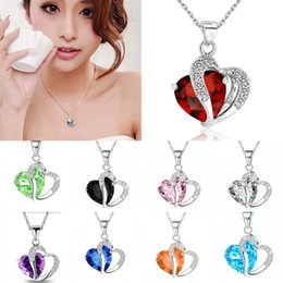 Wholesale Amethyst Gold Jewelry - Fashion Necklace Inlaid Crystal Jewelry Natural Amethyst Crystal Heart-Shaped Pendant Zircon Pendant Necklaces Free DHL D294L
