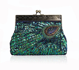 Wholesale Handmade Bags Purses - New Fashion Vintage Peacock Handmade Beaded Women Evening Bag Lady Sequins Handbag With Handle Luxury Clutch Wallet Purse For Wedding Party