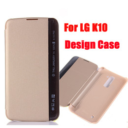Wholesale Smart Mobile Wallet Leather Case - New For LG K10 Side View Window Wallet Cases M2 F670 Slim Smart Flip PU Leather Cover Protector Mobile Phone Bags DHL SCA158