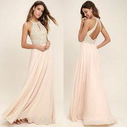 Wholesale Moderno Blush Pink gasa vestidos de dama de honor Halter Neck una línea Backless Long Pleats Summer Wedding Guest Party vestidos de noche personalizados