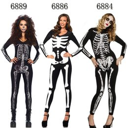 Discount skeleton costumes adults - Sexy Skeleton Skull Women Adult  Halloween Cosplay Party Fancy Dress Catsuit 0869d4a6cf02