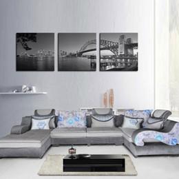 Wholesale Best Digital Panels - Canvas Print Best Wall Art Painting 3 Panel The Sydney Harbour Bridge Picture Print On Canvas Home Decoration painting