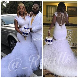 Wholesale Wedding Dress Mermaid Cut - Sexy Plus Size Lace Wedding Dresses Waist Cut Pearls V-Beck with Ruffles Train Tulle Capped 2017 Custom Made White Boho Bridal Wedding Gowns