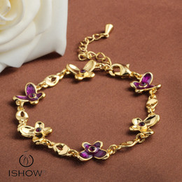 Wholesale Butterfly Rhinestone Bracelet Crystal - Purple butterfly bracelets women hightly quality Bangle with purple Crystal gift for girlfreind or Lover new fashion jewelry HSL00011