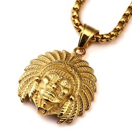 Wholesale Chief Pendant - 18K gold electroplating explosion Indian Chief necklace pendant HIPHOP jewelry