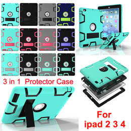 Wholesale Kid Ipad Case Cover - 3 in 1 Shockproof kids Protector Case with Stand PC + Silicone Hybrid Robot Protect Screen Protector cover case for ipad 2 3 4