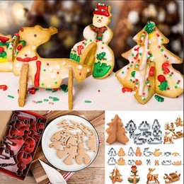 Wholesale Wholesale Metal Christmas Cookie Cutters - 3D Christmas Tree Cookie Cutter Stainless Steel Biscuit Cookie Mold Cake Decortion 8pcs Set Baking Tools OOA3289