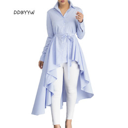 Wholesale Ladies Office Shirts Blouses - New Stripe Blouse Shirt Women New Fashion Blusas Office Ladies Autumn Long Sleeve Lapel High Low Belted Tunic Top LC250364