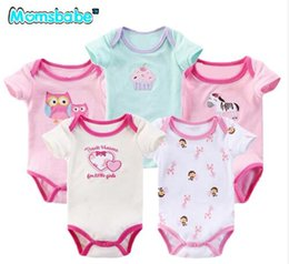 Wholesale new newborn unisex set clothes - 5Pieces lot White Newborn Baby Girl Romper Short-sleeve Unisex Summer Body Ropa Bebe Jumpsuit New Born Baby Clothing Sets