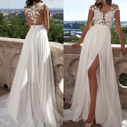 Wholesale See Through Chiffon Tops - 2016 Sexy See Through Dresses Illusion Bodice Sheer Bateau Neck Cap Sleeves Lace Appliqued Top High Thigh Split Evening Party Gowns