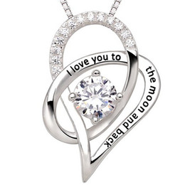 """Wholesale Necklace Moon Men - New Box Chain Link Jewelry For Woman Men Silver """"I Love You To The Moon and Back"""" Love Heart Pendant Necklace Christmas Gift Freeshipping"""