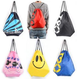 Wholesale Wholesale Fitness Clothing Women - Fashion Print Beach Bags Shoulder Straps Clothing Bags Breath Waterproof Bags Fitness Swimming Packs