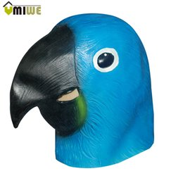 Wholesale Parrot Halloween Costume - Blue Parrot Realistic Animal Masquerade Party Masks For Halloween Cosplay Costume Adult Breathable Latex Full Head Face Mask