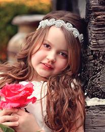 Wholesale Acrylic Hair Bands - 2018 Lovely Baby Girls Princess Flower Hairband Kids Children Rhinestone Headband Headwear Silk Satin Hair Band Accessories