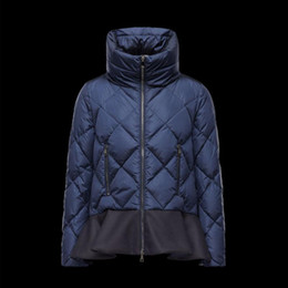 Wholesale Long Down Filled Jacket - High quality female down jacket Fill the white duck down Hem wave fold Collar fill silk cotton Dark blue women's coat