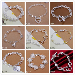 Wholesale Diamond Charms Wholesale - Heart diamond big flower sterling silver bracelet 8 pieces mixed style GTB7 Brand new high grade fashion women's 925 silver bracelet