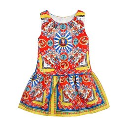 Wholesale Dresses Trade - High Quality spring ang autumn Foreign Trade New Pattern Explosion Catholicism Printing Girl Summer Dress European