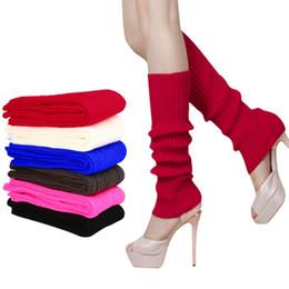 Botas de invierno caramelos online-Al por mayor-caliente nuevas mujeres de las señoras de invierno cálido alta rodilla Slouchy tejido calentadores de la pierna Crochet Knit Boot calcetines Toppers puños de color caramelo Z1