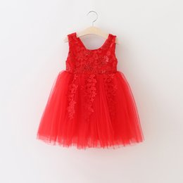 Wholesale Embroidered Neck - Christmas Party dress new Girls lace sequins embroidered tulle dress kids sequins Bows lace back V-neck dress chidren princess dresses A9863