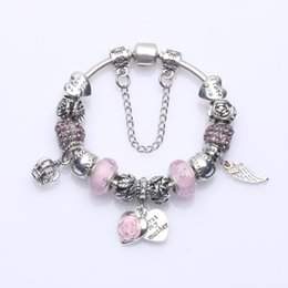 """Wholesale Bubble Beads - Newest Beaded Charm Bracelets with Glass Bubble Beads & Angle Wing Pendants & """"First My Mother"""" Heart Dangles DIY Bangle Bracelets BL251"""