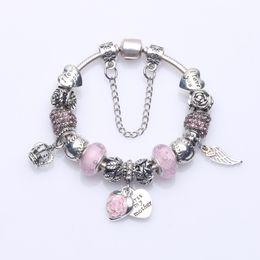 "Wholesale Beaded Mothers Bracelets - Newest Beaded Charm Bracelets with Glass Bubble Beads & Angle Wing Pendants & ""First My Mother"" Heart Dangles DIY Bangle Bracelets BL251"