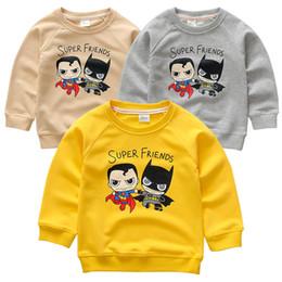 Wholesale Cotton Superhero T Shirts - Baby Boys Girls T shirts Children Fashion superhero superman batman Sweaters Boys Girls Long Sleeve Tops Autumn Clothing 2016