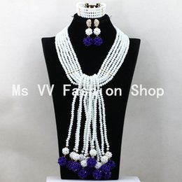 Wholesale Wedding Jewelry Sets Royal Blue - 2016 Luxury white royal blue Long Necklace Set Crystal Balls Pendant african beads Women Jewelry Set 2016 New Free Shipping
