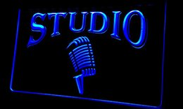 Barre de microphone en Ligne-LS282-b Studio On The Air Microphone Bar Neon Light Sign