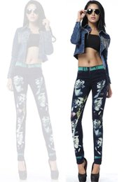 1ddaa06555b9 Wholesale Autumn 2013 new European stations in Europe and America women  painted head printed jeans feet pencil pants Slim painted jeans women on  sale