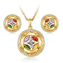 Wholesale Dubai Jewelry Sets - 18k gold plated dubai african nigerian fashion women austrian wedding crystal rhinestone earrings necklace party cubic zirconia jewelry sets